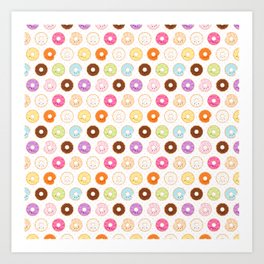Happy Cute Donuts Pattern Art Print