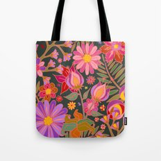 Flowers on Green Tote Bag