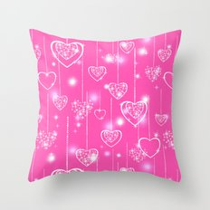 Openwork hearts on a bright pink background Throw Pillow