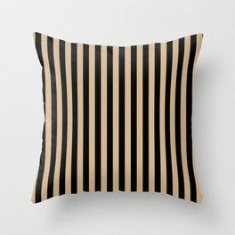 Tan Brown and Black Vertical Stripes Throw Pillow