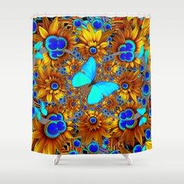 BLUE & GOLD ART DECO BUTTERFLIES & FLOWERS VIGNETTE Shower Curtain