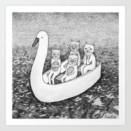 4 cats on a boat Art Print