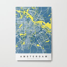 Amsterdam Map | Blue & yellow | More Colors, Review My Collections Art  Metal Print