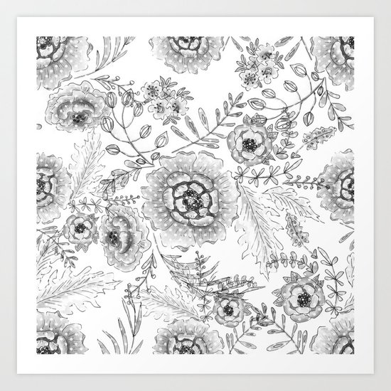 Black and white watercolor floral pattern with polka dots . Art Print
