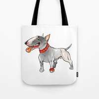 bull terrier Tote Bags featuring Bull Terrier by Paola Canti