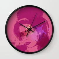amy hamilton Wall Clocks featuring Amy by BIG Colours