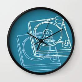 Blue Record Player Wall Clock