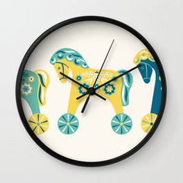 Swedish Toy Horses Wall Clock
