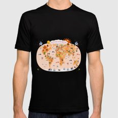 Worldwide map for kids. MEDIUM Black Mens Fitted Tee