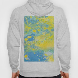 Fluid Art Acrylic Painting, Pour 36, Yellow, Green & Blue Blended Color Hoody