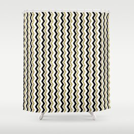Black Gold White ZigZag Pattern 1 Shower Curtain