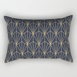 Art Deco Vector in Blue and Gold Rectangular Pillow