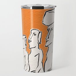 Moai statues in ink Travel Mug