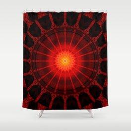 Mandala red heat Shower Curtain