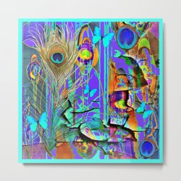 BLUE BUTTERFLY SHABBY CHIC PEELING PEACOCK PURPLE WALLPAPER Metal Print