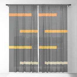Abstract Minimal Retro Stripes Ashtanga Sheer Curtain