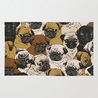 dogs Area & Throw Rugs featuring Social Pugz by Huebucket