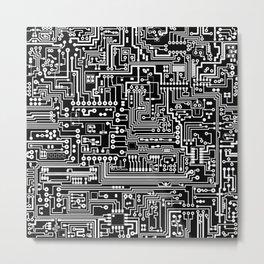 Circuit Board on Black Metal Print