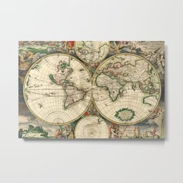 Old map of world hemispheres. Created by Frederick De Wit, 1668 Metal Print