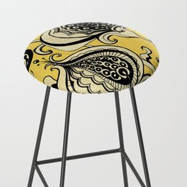 Black and Yellow Floral Bar Stool