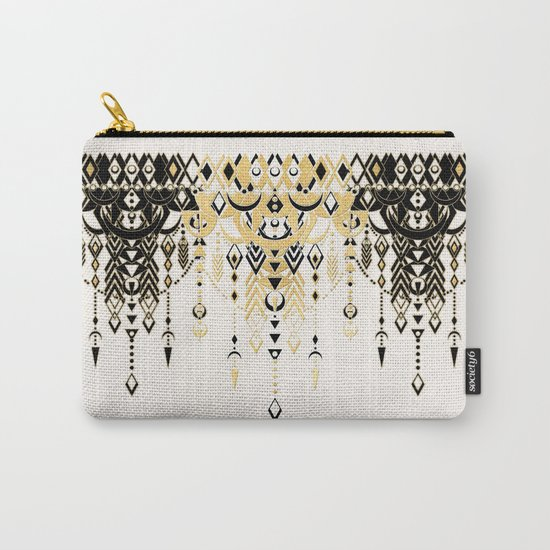 Modern Deco in Black and Cream Carry-All Pouch