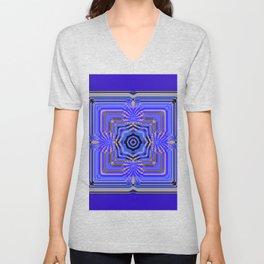 Blue and Gold Mandala Unisex V-Neck