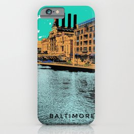 Baltimore Inner Harbor Painted on Photograph Pop Art iPhone Case