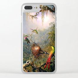 Nature's Fantasy : Cattyela Orchid and Three Brazilian Hummingbirds Clear iPhone Case