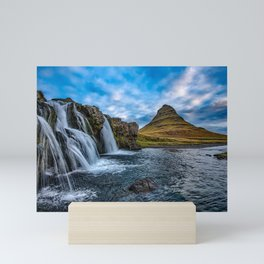 Kirkjufell, Iceland Waterfalls Mountain Landscape Mini Art Print