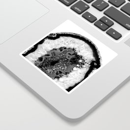 Gray Black White Agate Glitter Glamor #1 #gem #decor #art #society6 Sticker