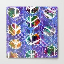 Flower Circles Blue Peace Pattern Metal Print