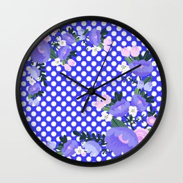 Floral on Pattern Background Wall Clock