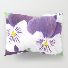 Purple and white pansies flowers Pillow Sham