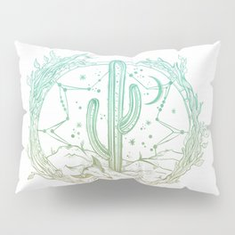Desert Cactus Dreamcatcher Turquoise Coral Gradient on White Pillow Sham