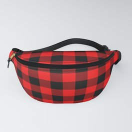 Jumbo Berry Red and Black Rustic Cowboy Cabin Buffalo Check Fanny Pack