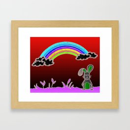 Rainbow bunny Framed Art Print