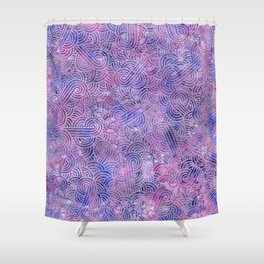 Purple and faux silver swirls doodles Shower Curtain