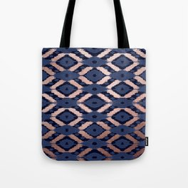Bohemian Rose Gold Navy Blue Ikat Pattern This modern and chic bohemian pattern is perfect for a cla Tote Bag