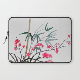 bamboo and red plum flowers Laptop Sleeve