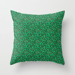 Greenery Green and Beige Leopard Spotted Animal Print Pattern Throw Pillow