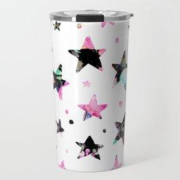 Abstract pink violet black watercolor geometrical stars Travel Mug