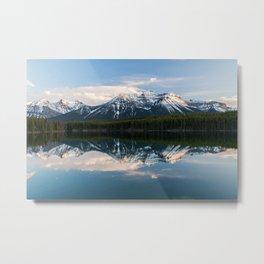 Rocky mountains reflected on Herbert Lake, Alberta, Canada Metal Print