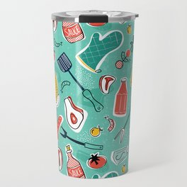 Backyard BBQ Aqua Travel Mug