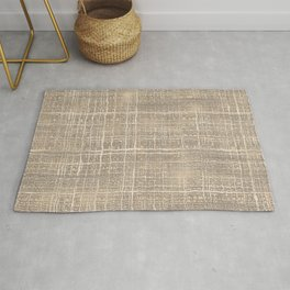 Beige Taupe Brown Jute Burlap Textile Pattern Rug