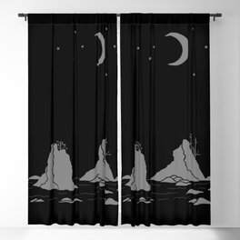 Moon Over Three Graces Grey on Black Blackout Curtain