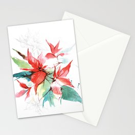 Poinsettia flower Stationery Cards