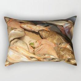 Variety of Fresh Fish Seafood on Ice Rectangular Pillow
