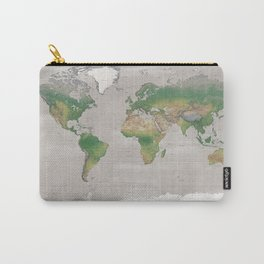 Rustic physical world map in taupe Carry-All Pouch