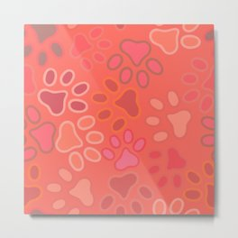 pink kitty paw prints multi pattern Metal Print