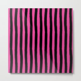 Black and Pink Palm Beach Preppy Cabana Stripes  Metal Print